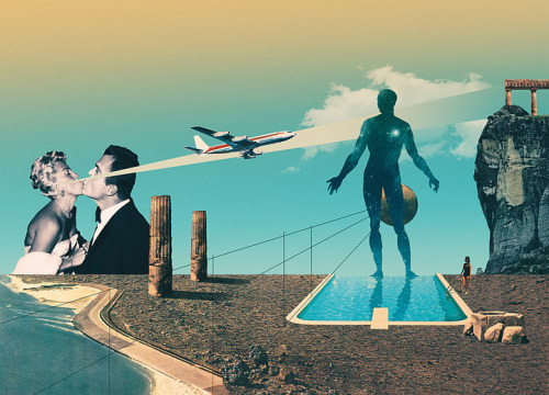 surrealism:  The Perfect Alignment of Our Feelings by Julien Pacaud, 2012. Digital print, 70x50 cm.  I always dreamed of kissing a woman who could shoot airplanes out of her ears. Some guys have all the luck.