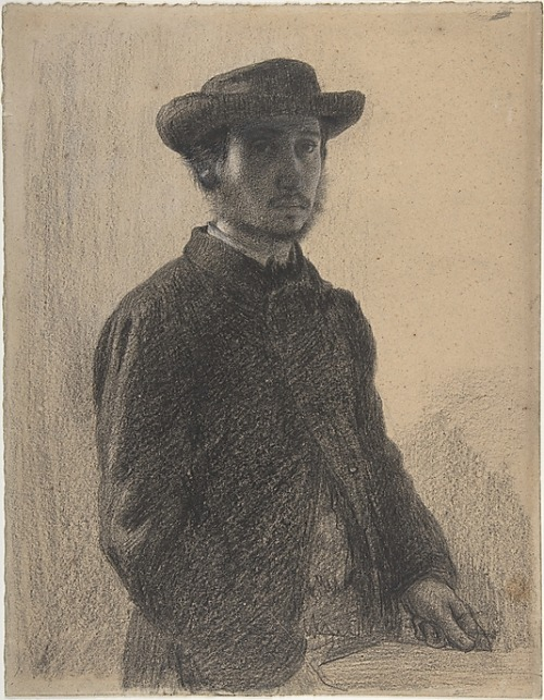 Edgar Degas Self-Portrait Black chalk and graphite, heightened with white on heavy beige wove paper by 1857 11 3/4 x 9 1/8 in. (29.8 x 23.1 cm)