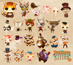 "Some cats I drew for our new game Rumble Kitten! I had a lot of fun (and learnt a lot) designing cats in this style. I've always wanted to do the exaggerated kind of character design prevalent in animation.The writers gave a lot of descriptions involving ""fat cats"" and ""burly"" cats, if you are wondering why there seem to be many overweight cats. Check it out here! https://itunes.apple.com/us/app/rumblekitten/id531929638?mt=8"