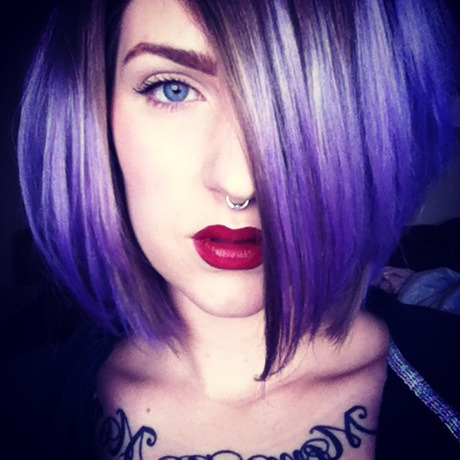#purplehair #redlips #blueeyes #piercing #tattoo