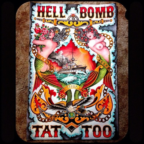""" Hell Bomb Tattoo ""  ….  Shop Banner by Matt Scanlan"