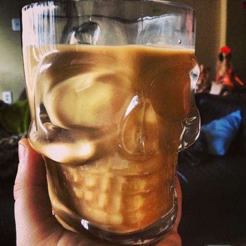 prettiest coffee in the whole darn world #skull #mug #coffee #sonicboom #toronto #glass #mine