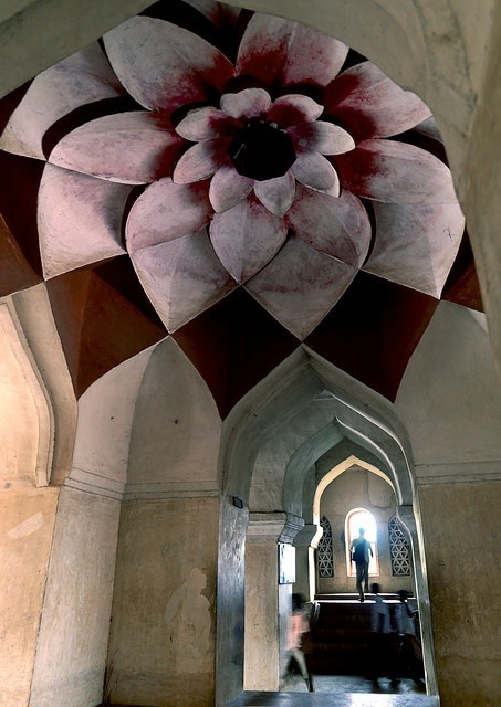 indophilia:  Lotus ceiling at  Tanjore palace