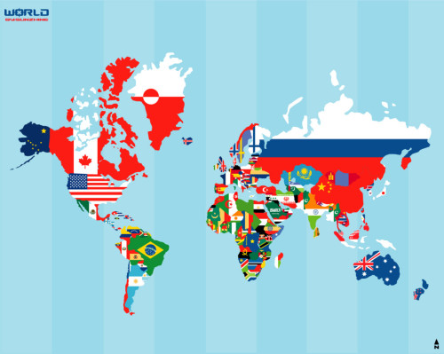 mapsontheweb:  World Map with Flags