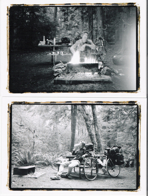 citymaus:  Poached Campsites top: cooking by fire in the North Cascadesbottom: after a long day of riding/ hiking drew, 2009.