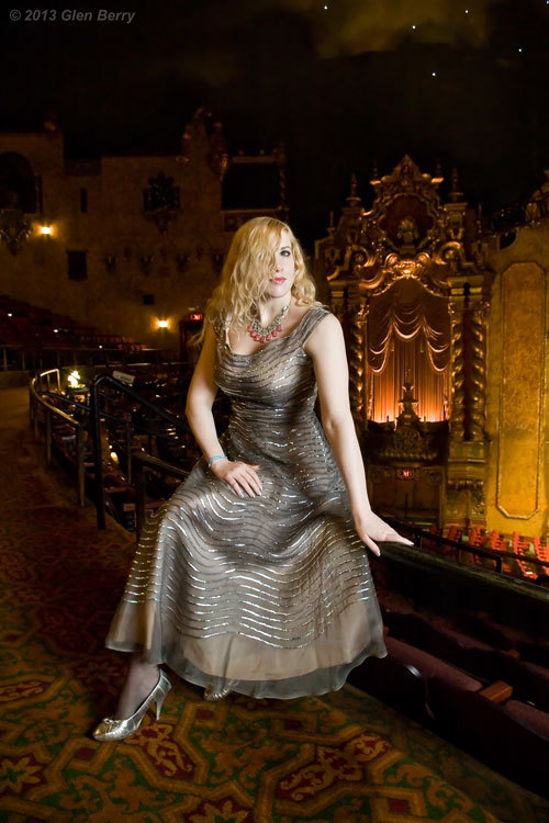 """Timeless Glamour"" Elsa poses on the balcony of the historic Keith Albee theater, wearing a vintage 1940s dress, which was graciously loaned to us by the Marshall University theater department for this photo shoot. The Keith Albee was constructed in 1928, and is the crown jewel of downtown Huntington WV.Prints of this photo are available for purchase. Just click on the photo to visit the online shop."