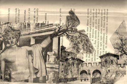 a collage i made for a page in an altered book project in the 7th grade