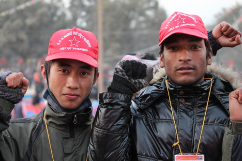 Comrades from the People's Volunteers, a militant urban wing of the Communist Party of Nepal-Maoist. Click here for more of my photos from the opening session of the 7th Congress of the CPN-Maoist in Kathmandu. The Congress just concluded today, after a two day extension on the closed sessions. Much more information to come! [Photo by Natalio Pérez. Feel free to distribute and repost, preferably linking back to kasamaproject.org]