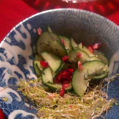 Japanese cucumber salad with pomegranate #asianfood #delicious