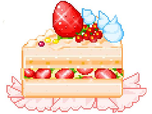cute kawaii dessert cake pixel Strawberry strawberry ...