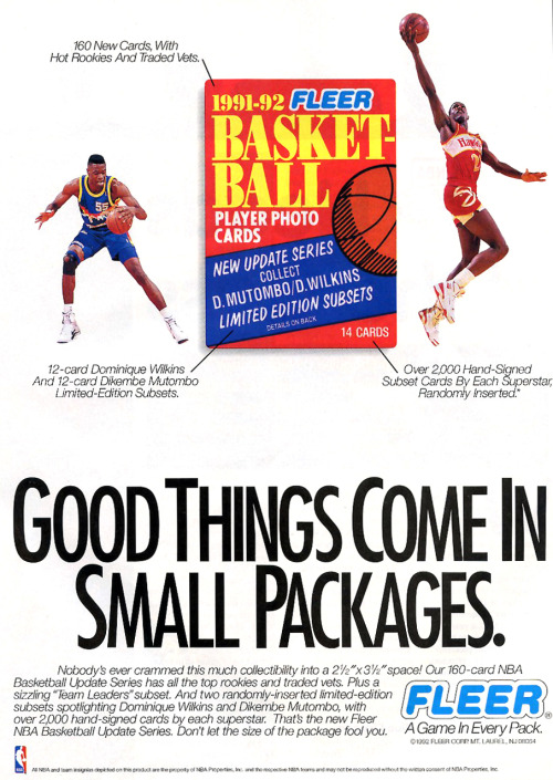 fatshawnkemp:  1991-92 Fleer Basketball Cards Ad