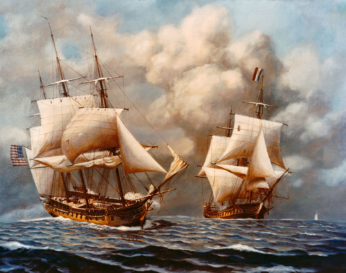 navyhistory:  On 2 February 1800, United States Frigate Constellation (commanded by Captain Thomas Truxtun) defeated the French frigate la Vengeance, during the undeclared Quasi-War. This painting by RADM John W. Schmidt depicts the battle. NHHC image KN-2882.