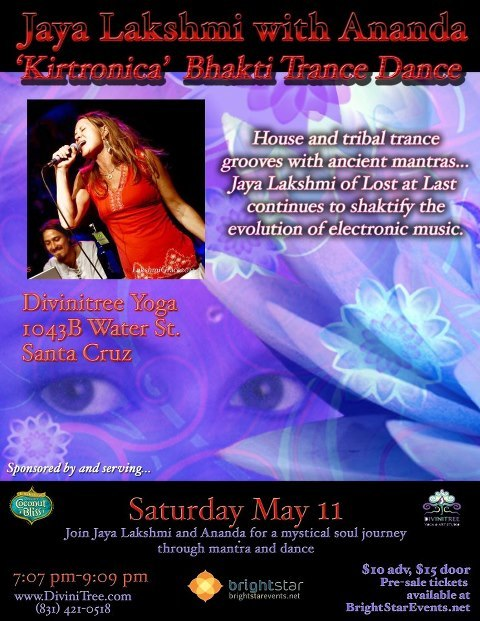 Performing with Jaya Lakshmi & Ananda! Santa Cruz Kirtronica Album Release Party! Saturday 5/11/13 7-9 PM at Divinitree Santa Cruz  1043-B Water St., Santa Cruz, CA Event Listing