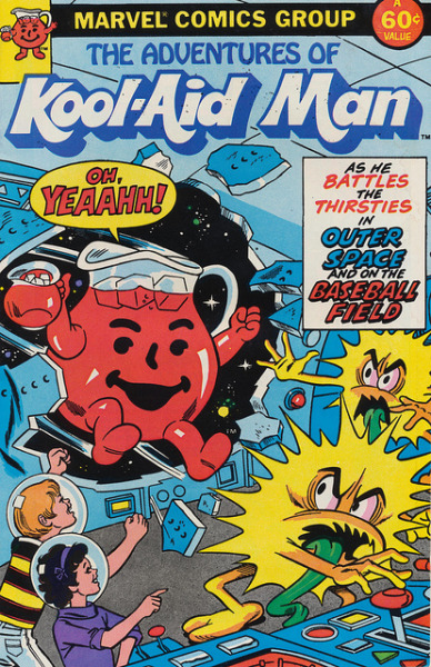 thepieshops:  The Adventures of Kool-Aid Man As He Battles the Thirsties in Outer Space and on the Baseball Field Published by Marvel in 1983  Sweet