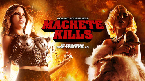 """MACHETE KILLS"" Danny Trejo returns as ex-Federale agent MACHETE in Robert Rodriguez's MACHETE KILLS. The U.S. government recruits Machete to battle his way through Mexico in order to take down an arms dealer who looks to launch a weapon into space.    OMFG… MACHINE GUN BOOBS!!! *o*"