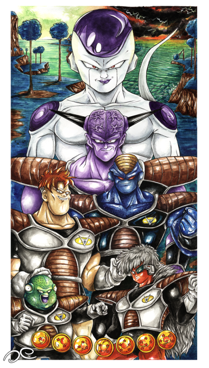 Ginyu Force (ギニュー特戦隊)Acuarela y tinta / Watercolor and InkAbril 2013 ® Oe Illustration .