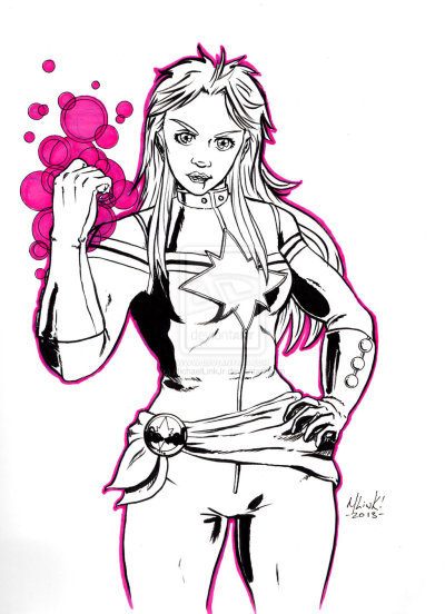 sakurafire:  Captain Marvel quick sketch by =MichaelLinkJr Quick sketch testing out brushed inks in my new sketchbook. About 30-45 minutes.