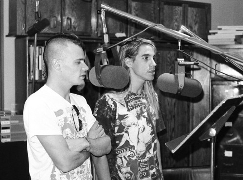 Anthony Kiedis and Flea in the control room at KISW Radio in Seattle during EMI's west coast promotion for Mother's Milk in 1989.