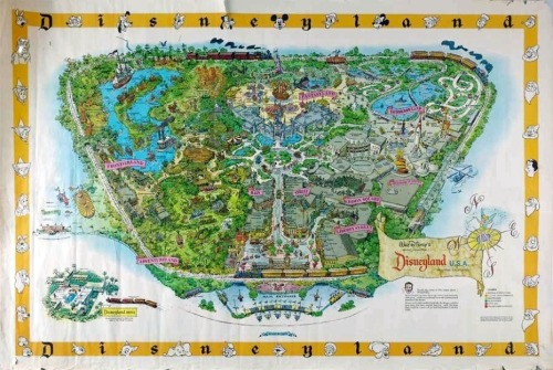 "As the first map large-scale, poster-sized map published for sale in Disneyland park, this was used as a marketing tool to build interest in attending this new thing called a ""theme park."" A large number of these were sold both in the park and through a promotional offer with Sunkist Orange Juice, a sponsor in the park. It is interesting to note that Disneyland was built on what was once large groves of orange trees, so the sponsorship of Sunkist seems appropriate."
