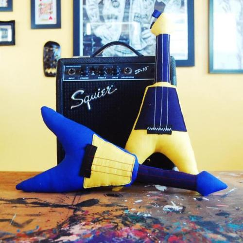 DIY Flying V Guitar Plush Toy Tutorial and Pattern from Bored & Crafty here.