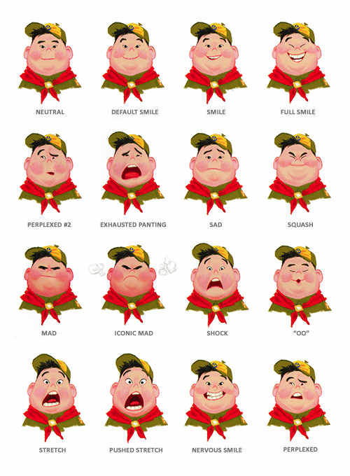 Concept art of Russell's facial expressions from Up