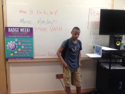 A performer at RMD's Music Mondays.  A great way to kick off Badge Week for the YOUmedia middle school location!