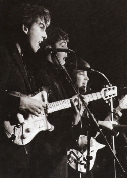 theswinginsixties:  The Beatles at the Top Ten Club in Hamburg, April 1961. Photo by Juergen Vollmer.