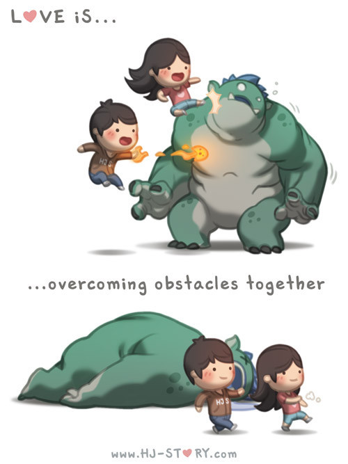 hjstory:  Love is… overcoming obstacles together! See more of HJS at: http://tapastic.com/episode/6177