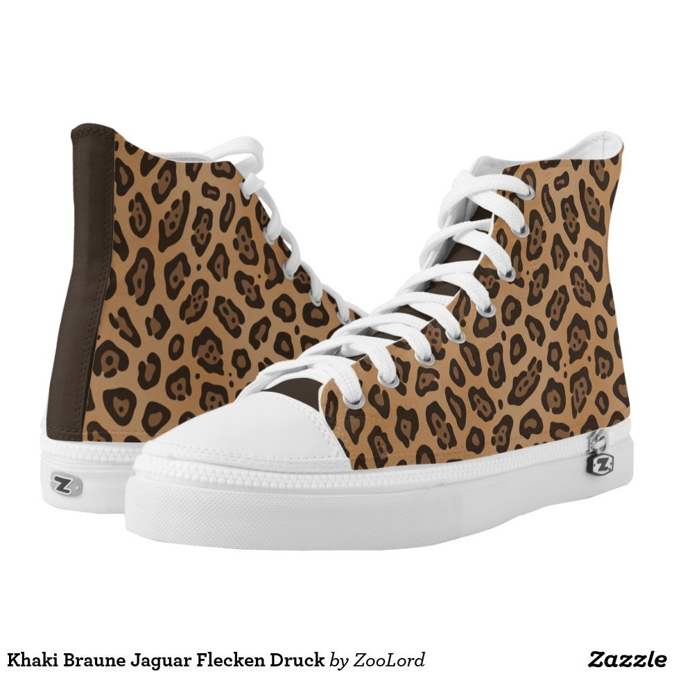 Khaki Braune Jaguar Flecken Druck High-Top Sneakers - Unique Canvas Shoes With Interchangeable Tops  External image  Buy This Design Here: Khaki Braune Jaguar Flecken Druck High-Top Sneakers Created by Fashion Designer: ZooLord Look sporty, stylish and elegant in a pair of unique custom sneakers! Each pair of custom Low Top ZIPZ Shoes is designed so you can fit your style to any wardrobe, mood, party or occasion. Fashionable sneakers for kids and adults, ZIPZ shoes give you a unique and personalized way to express yourself!Khaki Braune Jaguar Flecken Druck High-Top Sneakers Product Information - Unisex sizing: 4-13 Men's | 6-15 Women's - Material and fabric: Durable canvas tops, rubber soles - Buy multiple pairs! ZIPZ shoes are interchangeable, the top cover can be zipped on and off so you can easily switch up your style on the go - Rubber soles are manufactured with extra cushioned insoles and a specially designed arch support system to give your feet a comfortable and healthy fit - Quality you can trust: ZIPZ has been independently tested by SATRA for wear, use, and durability - Additional cost for designing on the tongue of the shoe - Khaki Braune Jaguar Flecken Druck High-Top Sneakers are printed in Santa Fe Springs, CA #sneakers#shoes#footwear#style#fashion#sports#fashionista#OOTD#streetwear#fashionblogger