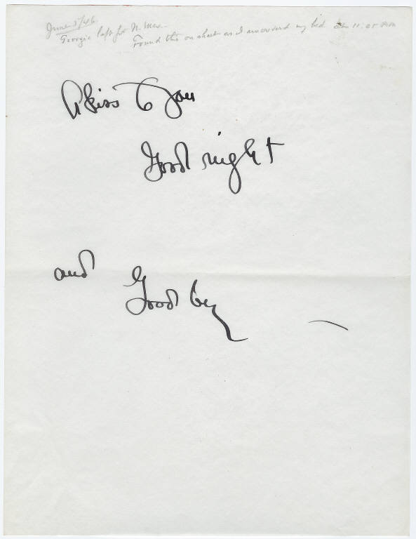 A note from Georgia O'Keeffe to Alfred Stieglitz