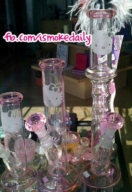 minxie413:  Hello kitty bongs! beautiful glassware!!