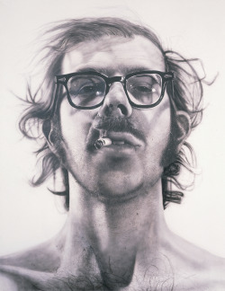 "ryandonato:  Chuck Close, Big Self-Portrait, 1967-1968, Acrylic on canvas, 8' 11"" x 6' x 11"".  Close's goal was to translate photographic information into painted information. In his portraits, he deliberately avoided creative compositions, flattering lighting effects, and revealing facial expressions.    I saw an original Chuck Close once, his work is awe inspiring."
