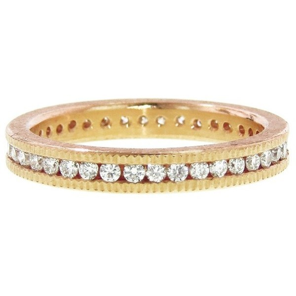 Todd Reed Brilliant Cut Channel Set Band - Rose Gold   ❤ liked on Polyvore (see more pink gold jewelry)