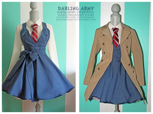 Darling Doctor Who David Tennant Suiting Cosplay Pinafore  ByDarling Army  Yay! It's finally here! The blue variation of my David Tennant Suiting Pinafore! The fabric is a wool blend with a textured weave so that the color has dimension. The bow can tie in the front or back and the neck straps can be tucked into the petticoat or tied around the neck like a halter top. Yay!  I only accept 20 pinafore orders at a time. Keep checking my Facebook for updates on when I'll be accpeting orders again  =3  Gotta be quick. Spaces fill up in about six hours. DARLING ARMY FACEBOOK
