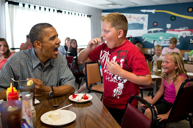 "@whitehouse: Happy Pi Day! ""'Anyone want to try a piece of my strawberry pie,' the President asked those at adjacent tables during a stop for lunch at Kozy Corners restaurant in Oak Harbor, Ohio. A young boy said yes and came over for a big bite of pie.""  (Official White House Photo by Pete Souza was taken July 5, 2012)"