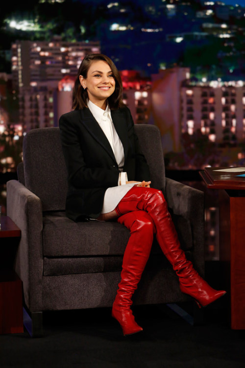 red boots Mila Kunis