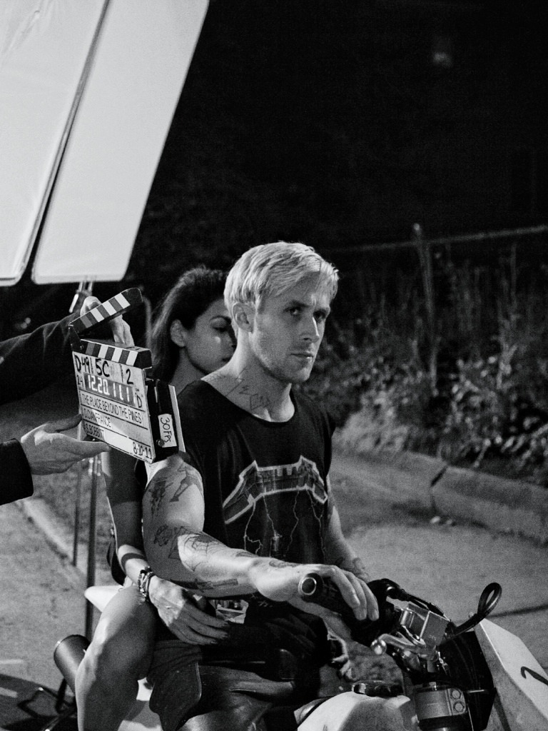 Ryan Gosling and Eva Mendes on the set of The Place Beyond the Pines, 2013.