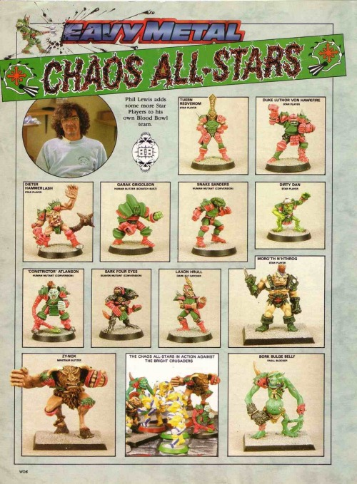 Chaos All-Stars Blood Bowl figures from White Dwarf 114, June 1989. Phil Lewis, 1989.