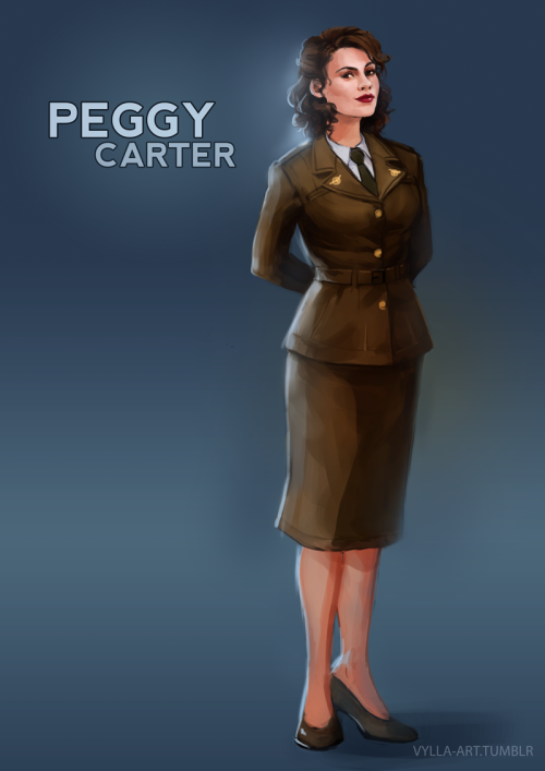 "thingsfortwwings:  [Fanart: Peggy Carter wearing her uniform and smiling; captioned ""Peggy Carter""] vylla-art:  Peggy Carter - 22/46"