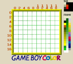 christinelove:   This is neat: a debug window border that was used in Pokémon Trading Card Game (for the Game Boy), with an 8x8 overlay grid designed to test Super Game Boy colourization regions.