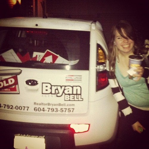 Drunk walk home, my name was on a car