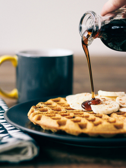 veganrecipecollection:  (via Oh, Ladycakes: Sweet potato waffles with cacao nibs)  WAFFLES FO YO MAMA