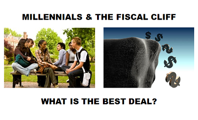 "According to PolicyMic, for Millennials to get ""the best deal"" from the fiscal cliff agreement, it needs to include an increase to minimum wage, and it should refrain from cutting education, workforce training and transportation.  LIKE if you agree & COMMENT if you have other ideas.  To read today's full translation, click here!"