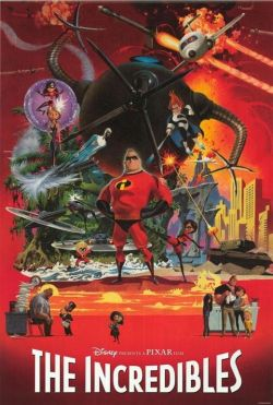 The Incredibles hand-painted movie poster by Robert McGinnis.