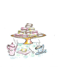 Tea and Macarons…illustration by Ilaria Vallone