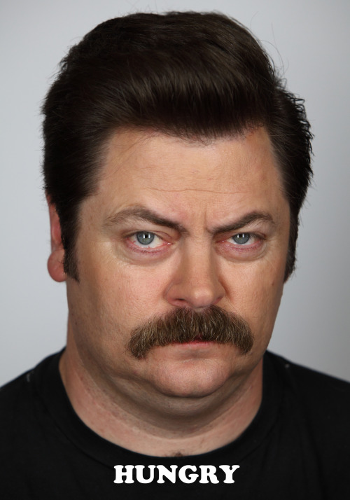 ibtk:  nbcparksandrec:  Today, Ron is feeling hungry.  This looks a lot like my hungry face, actually.  I'm making this face right now. True story.