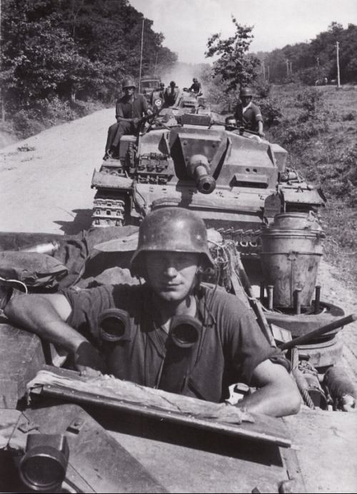 A StuG III column on the move to the Caucasus region
