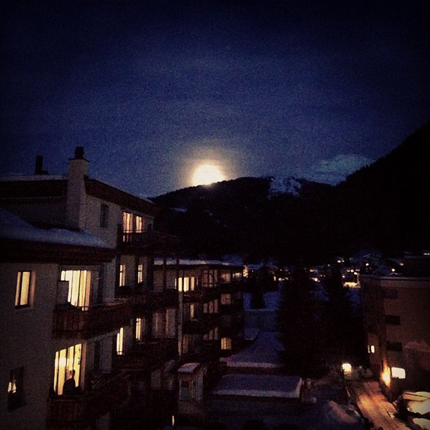 Moon rising over Alps (at Davos Klosters Mountains)
