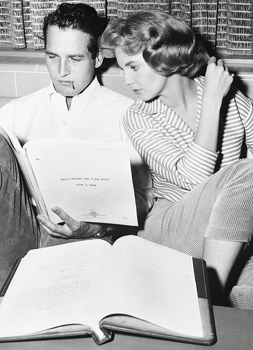 Paul Newman and Joanne Woodward reading the script for Rally 'Round The Flag, Boys!, c. 1958. (x)