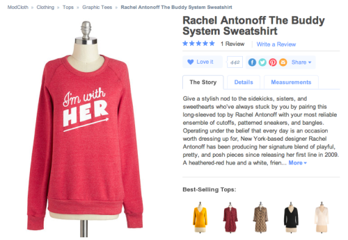 iamsleeping:  x ModCloth is insisting this is a ~friendship~ sweatshirt but I would so totally wear it as my lesbian getup unf